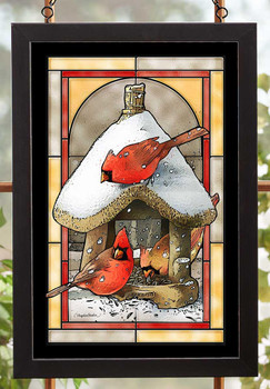 Cardinal Birds at the Bird Feeder Stained Glass Wall Art