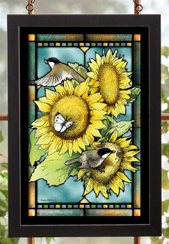 Chickadee Birds Sunflowers and Butterflies Stained Glass Wall Art