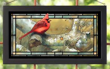 Cardinal Bird on a Fallen Birch Branch Stained Glass Wall Art