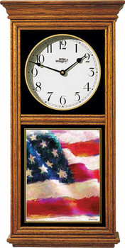 American Flag Medium Oak Wood Regulator Wall Clock