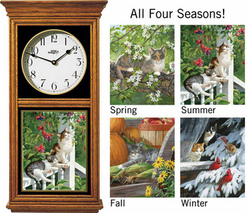 Cats in All Seasons Medium Oak Wood Regulator Wall Clock