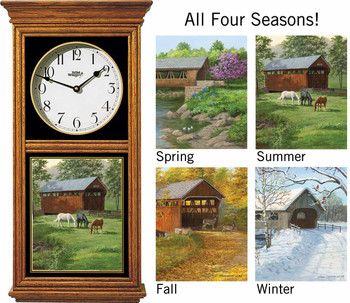 Covered Bridges in All Seasons Medium Oak Wood Regulator Wall Clock