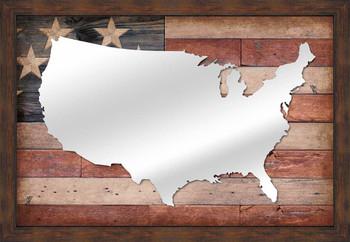 USA Flag Wall Mirror with Wood Frame