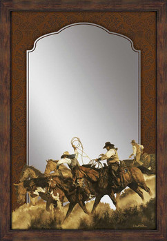 Bringing in the Cavvy Cowboys Wall Mirror with Wood Frame
