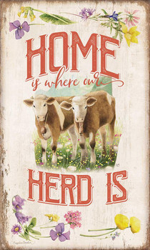 Home is Where our Herd is Wood Sign
