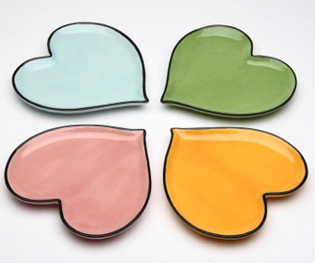 Happy Heart Colored Plates, Set of 4