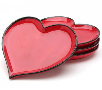 Red Happy Heart Plates, Set of 4