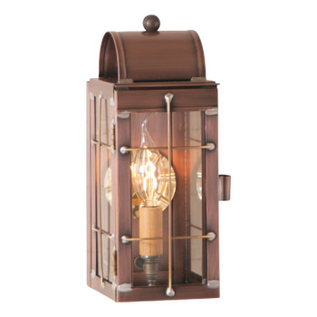 Cape Cod Solid Antique Copper and Glass Electric Wall Lantern