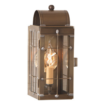 Cape Cod Solid Weathered Brass and Glass Electric Wall Lantern