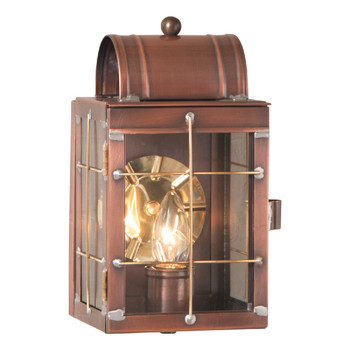 Shelly Solid Antique Copper and Glass Electric Wall Lantern