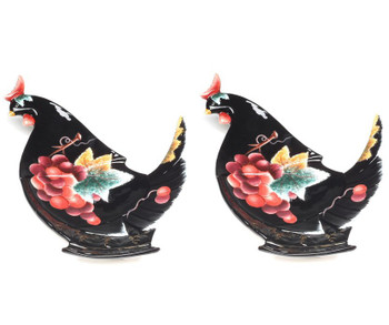 Rooster Earthenware Plates, Set of 2