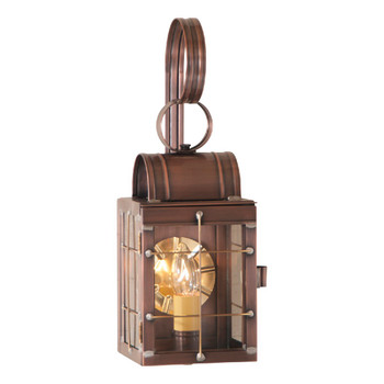 Single Solid Antique Copper and Glass Electric Wall Lantern