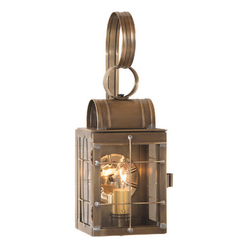 Single Solid Weathered Brass and Glass Electric Wall Lantern