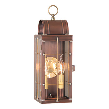 Queen Arch Solid Antique Copper and Glass Electric Wall Lantern