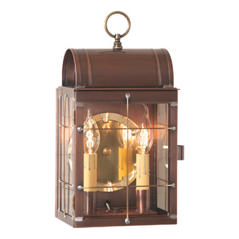 Toll House Solid Antique Copper and Glass Electric Wall Lantern