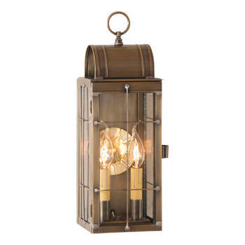 Queen Arch Solid Weathered Brass and Glass Electric Wall Lantern