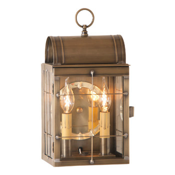 Toll House Solid Weathered Brass and Glass Electric Wall Lantern