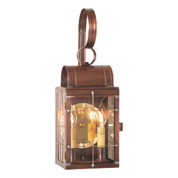 Double Solid Antique Copper and Glass Electric Wall Lantern