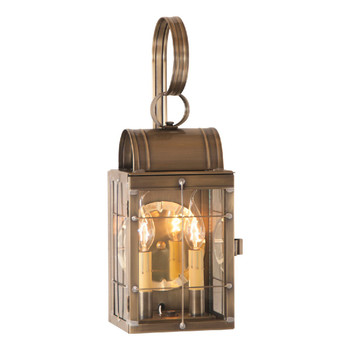 Double Solid Weathered Brass and Glass Electric Wall Lantern