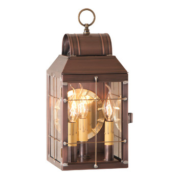 Martha's Solid Antique Copper and Glass Electric Wall Lantern