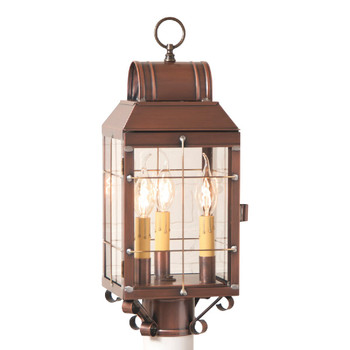 Martha's Post Solid Antique Copper and Glass Electric Wall Lantern