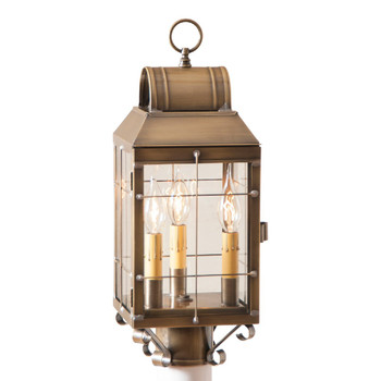 Martha's Post Solid Weathered Brass and Glass Electric Wall Lantern