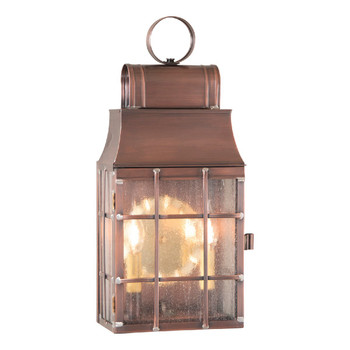 Washington Solid Antique Copper and Glass Electric Wall Lantern