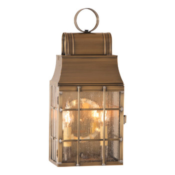 Washington Solid Weathered Brass and Glass Electric Wall Lantern