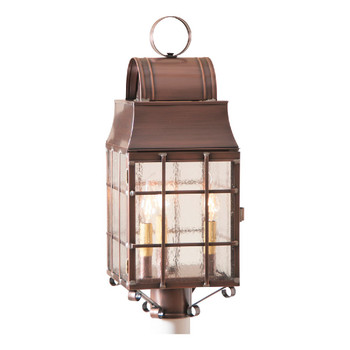 Washington Post Solid Antique Copper and Glass Electric Wall Lantern