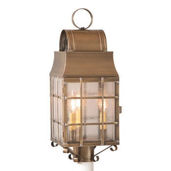 Washington Post Solid Weathered Brass and Glass Electric Wall Lantern