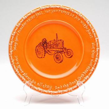 Orange Farm Blessing Tractor Salad Plates, Set of 4