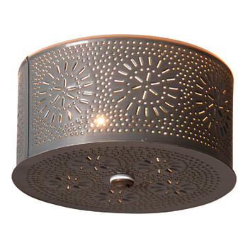Country Tin Round Chisel Pierced Tin Ceiling Light