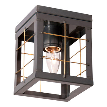Country Tin Single Metal Ceiling Light with Brass Bars