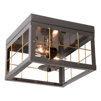Country Tin Double Metal Ceiling Light with Brass Bars