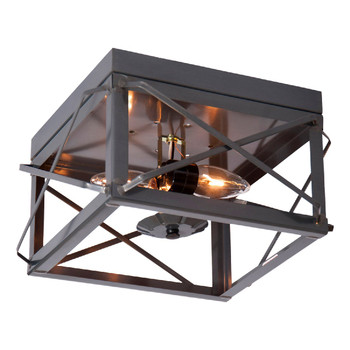 Country Tin Double Metal Ceiling Light with Folded Bars