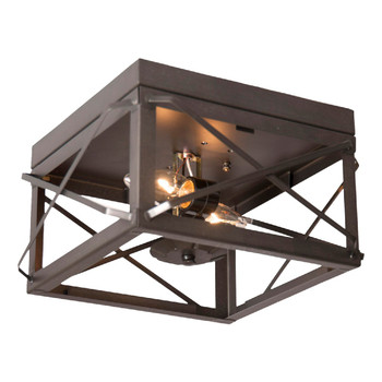 Kettle Black Double Metal Ceiling Light with Folded Bars