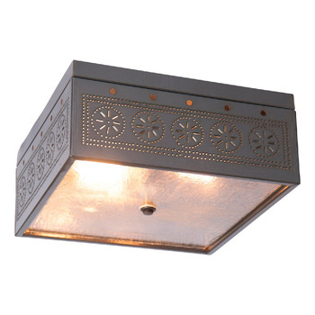 Country Tin Square Chisel Pierced Tin Ceiling Light
