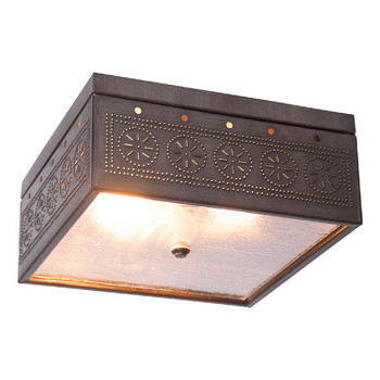 Kettle Black Square Chisel Pierced Tin Ceiling Light
