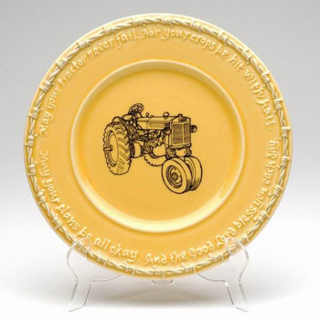 Yellow Farm Blessing Tractor Salad Plates, Set of 4