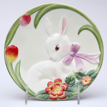Bunny Rabbit with Flowers Porcelain Plates, Set of 4