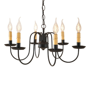 Midnight Black Sheraton Six Arm Metal Chandelier