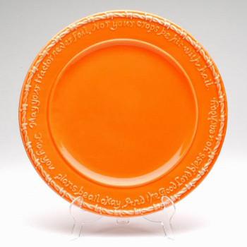 Orange Farm Blessing Tractor Dinner Plates, Set of 4