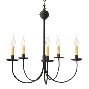 Textured Black Large 5-Arm Westford Metal Chandelier