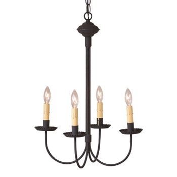 Textured Black 4-Arm Grandview Metal Chandelier with Ecru Sleeves
