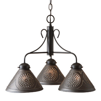 Kettle Black Barrington Punched Tin Chandelier