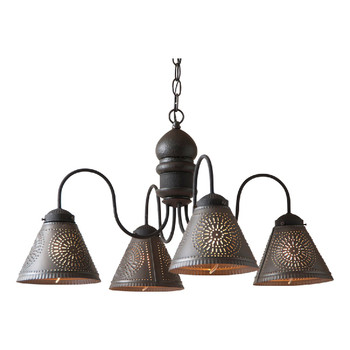 Americana Black Cambridge Wood and Metal Chandelier