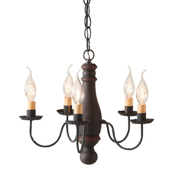 Hartford Black with Red Stripe Bed and Breakfast Wood and Metal Chandelier