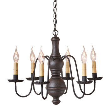 Americana Black Medium Chesterfield Wood and Metal Chandelier