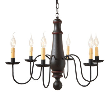 Sturbridge Black with Red Stripe Large Norfolk Wood and Metal Chandelier
