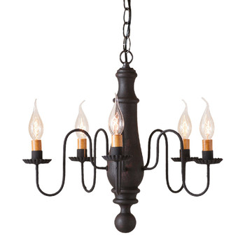 Hartford Black over Red Medium Norfolk Wood and Metal Chandelier